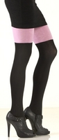 Pink Black Signature Cotton Tights
