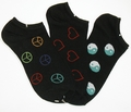 Peace Love Harmony No-Shows Socks 3-pair pack